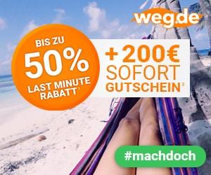 Jetzt bis zu 50% Last Minute Rabatt + 200€ Sofort-Gutschein